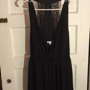 BCBG generation black pleated maxi Dress lace back
